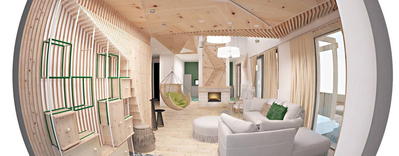 Архитектурное бюро Колхитектура — проект для дома ТехноНИКОЛЬ: Гостиная в . Автор – Open Village