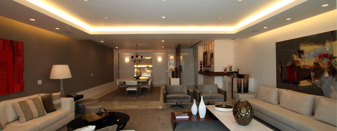 Apartamento Av Lucio Costa - Barra da Tijuca Arquinovação - Projetos e Obras Salas de estar modernas