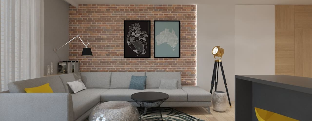 غرفة المعيشة تنفيذ INNers - architektura wnętrza,