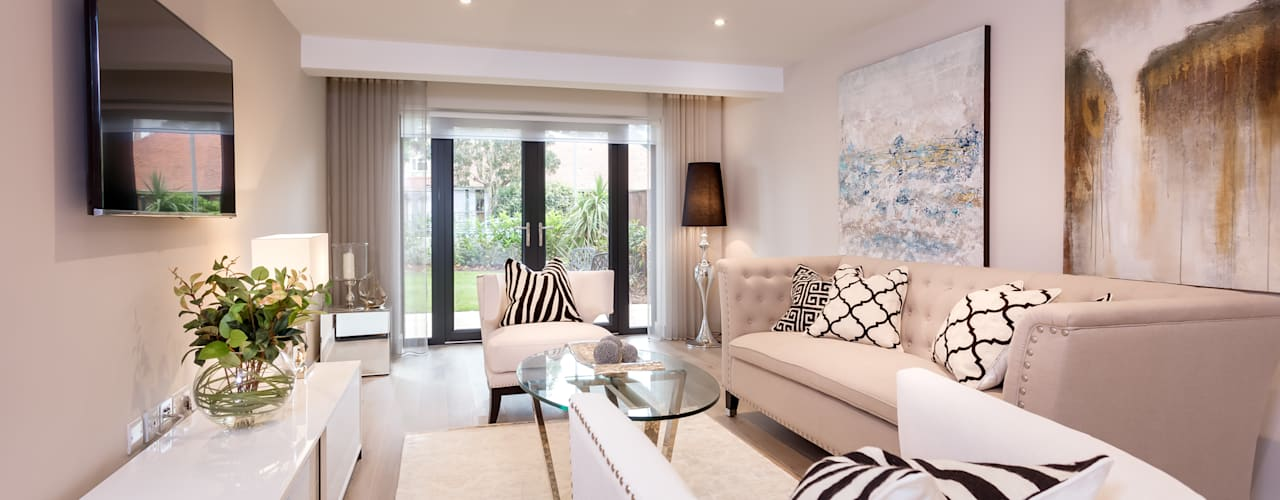 Sandbanks Show apartment:  Living room by SMB Interior Design Ltd