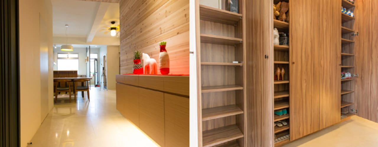 玄關鞋櫃:  走廊 & 玄關 by 果仁室內裝修設計有限公司