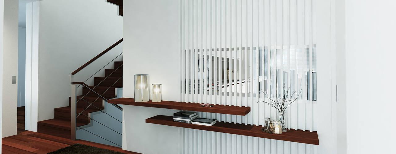 Moradia unifamliar - Tipologia T3 Corredores, halls e escadas modernos por Esboçosigma, Lda Moderno