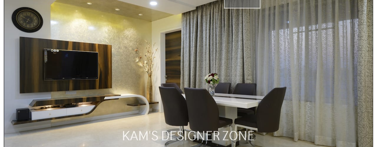 Flat Interior Design for PINKY AGARWAL Modern dining room by KAM'S DESIGNER ZONE Modern