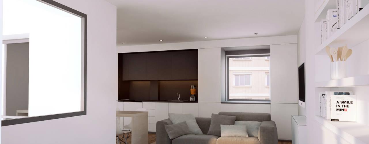 Casa Born -50 m²-, Barcelona. Sala de estar.: Salones de estilo  de GokoStudio