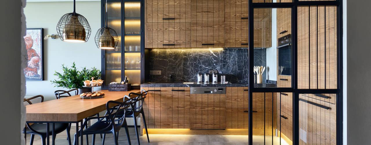 Esra Kazmirci Mimarlik Cocinas modernas: Ideas, imágenes y decoración Negro
