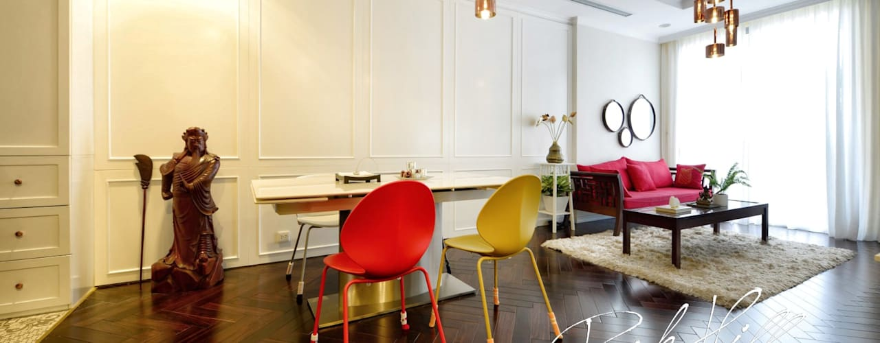 Căn hộ Park Hill Á-Đông-Đương-Đại 99m2 Phòng ăn phong cách chiết trung bởi Công ty cổ phần NỘI THẤT AVALO Chiết trung