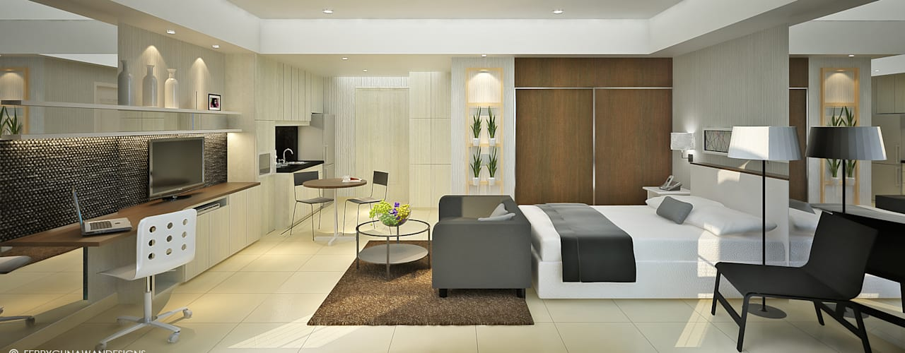 referensi design interior apartemen 2br design interior apartemen Green Palace Residence Service Apartments: Hotels by FerryGunawanDesigns