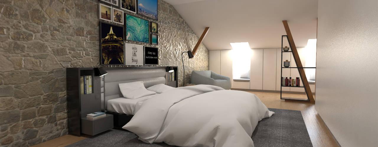 Apartamento BA14.3 - Master suite - simulação 3D:   por The Spacealist - Arquitectura e Interiores