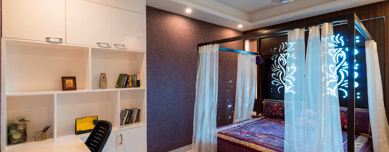 Salarpuria - Apartment Interiors Vivek Shankar Architects Modern style bedroom MDF Purple/Violet