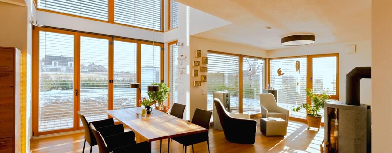 Modernes und ökologisches Holzhaus Kalmar:  Wohnzimmer von Skan-Hus Projekt GmbH