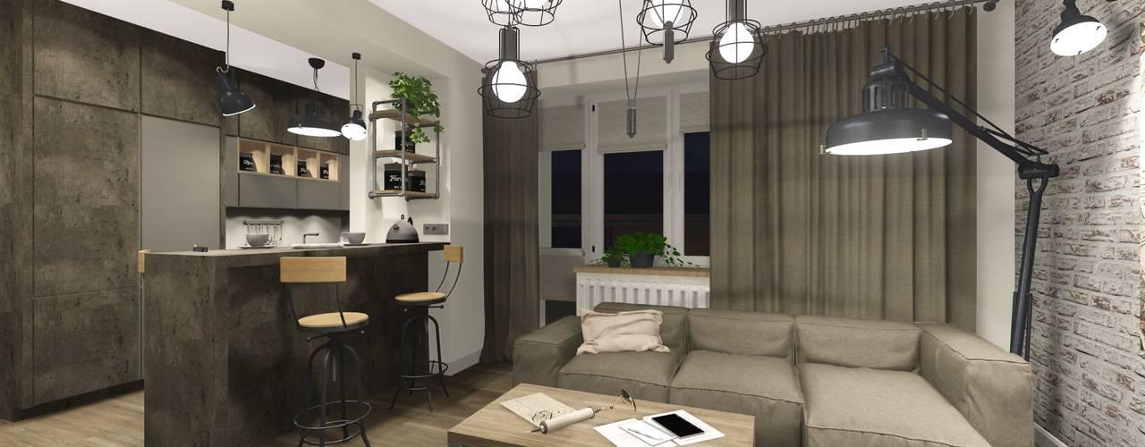 غرفة المعيشة تنفيذ KOKON zespół architektoniczny