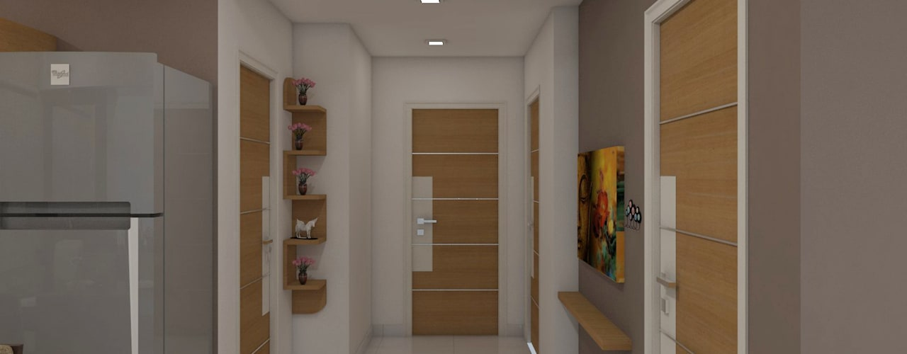 sai ram projects, kondapur Asian style corridor, hallway & stairs by shree lalitha consultants Asian