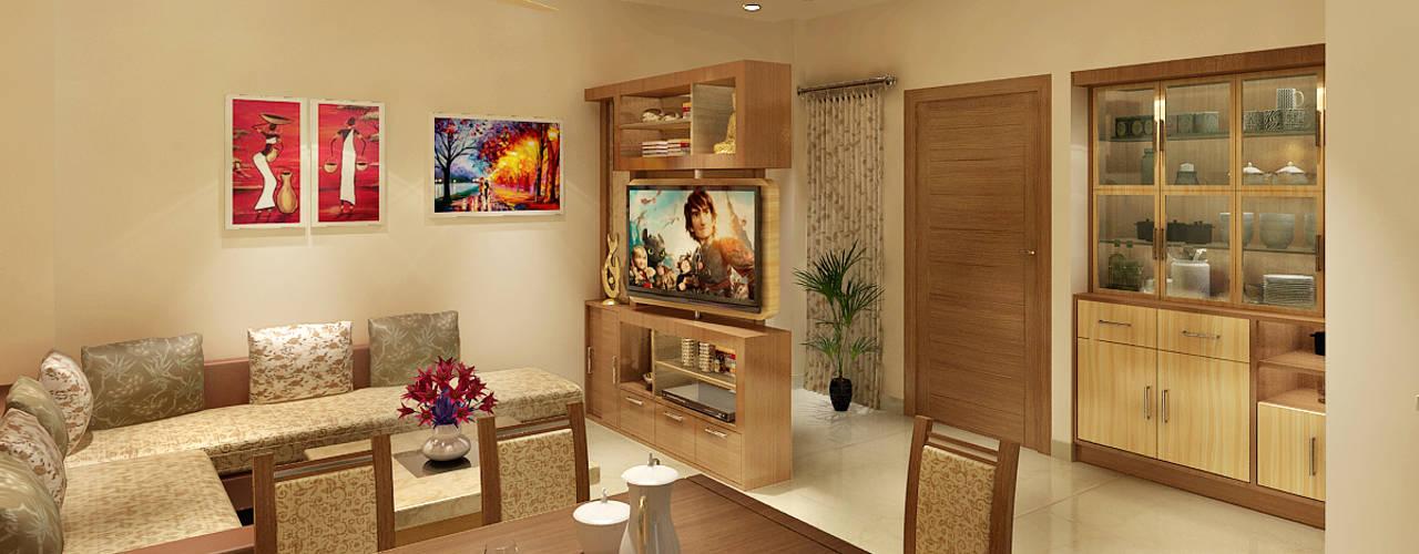 3 Floor Residential Villa:  Dining room by Srijan Homes