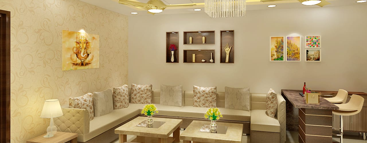 3 BEDROOM + STUDY Classic style living room by Srijan Homes Classic