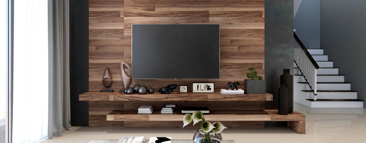 K riz town ramรับออกแบบตกแต่งภายใน ห้องนั่งเล่นชั้นวางทีวีและตู้วางทีวี แผ่นไม้อัด Black