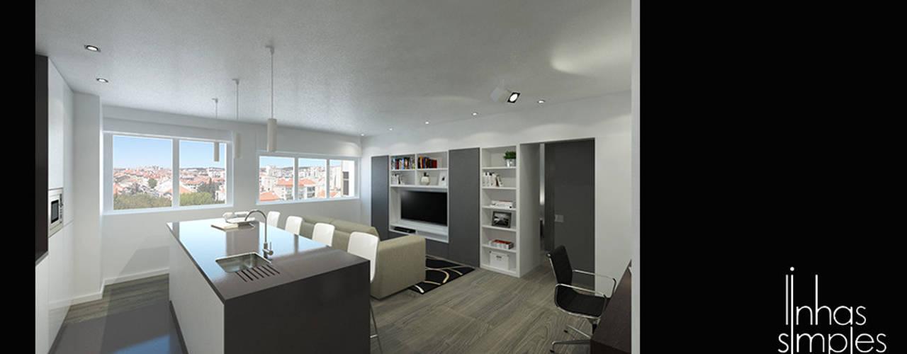 Transformar um T1... num T1 ! Salas de estar modernas por Linhas Simples Moderno