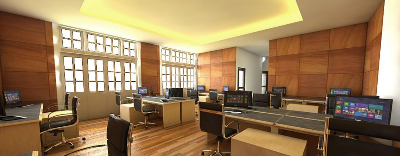 Celcius Indonesia Bangunan Kantor Modern Kayu Lapis Wood effect