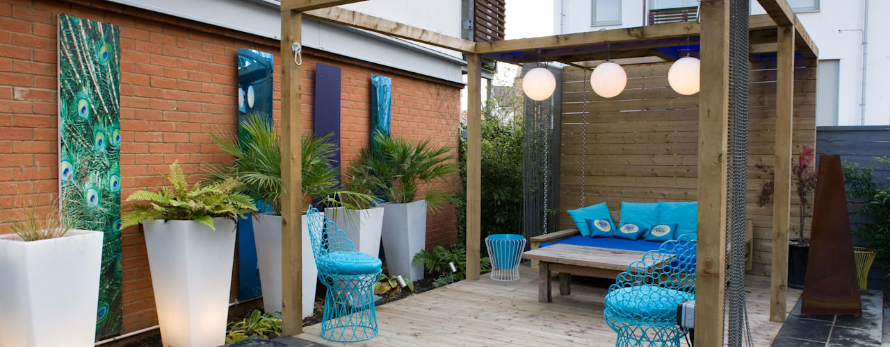 SMALL MODERN GARDEN DESIGN IN ESSEX Jardines de estilo moderno de Earth Designs Moderno