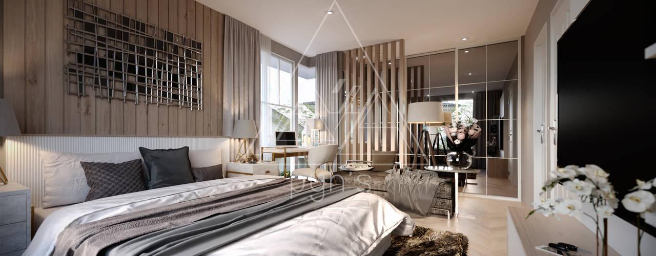 บ้านเดี่ยว Villagio Bangna:  ห้องนอน by pyh's interior design studio