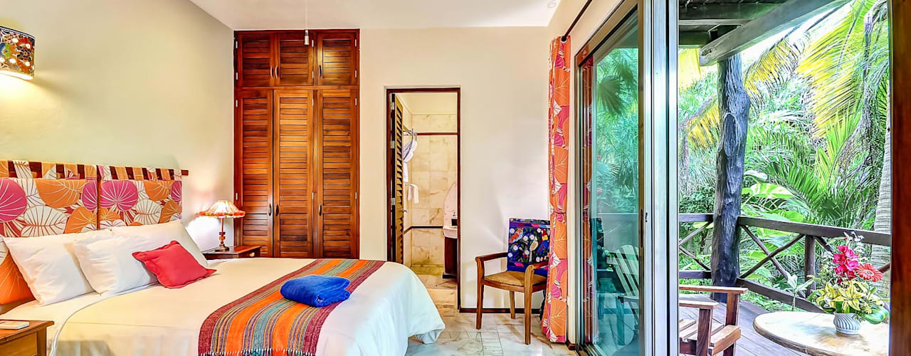 DHI Arquitectos y Constructores de la Riviera Maya Habitaciones de estilo tropical