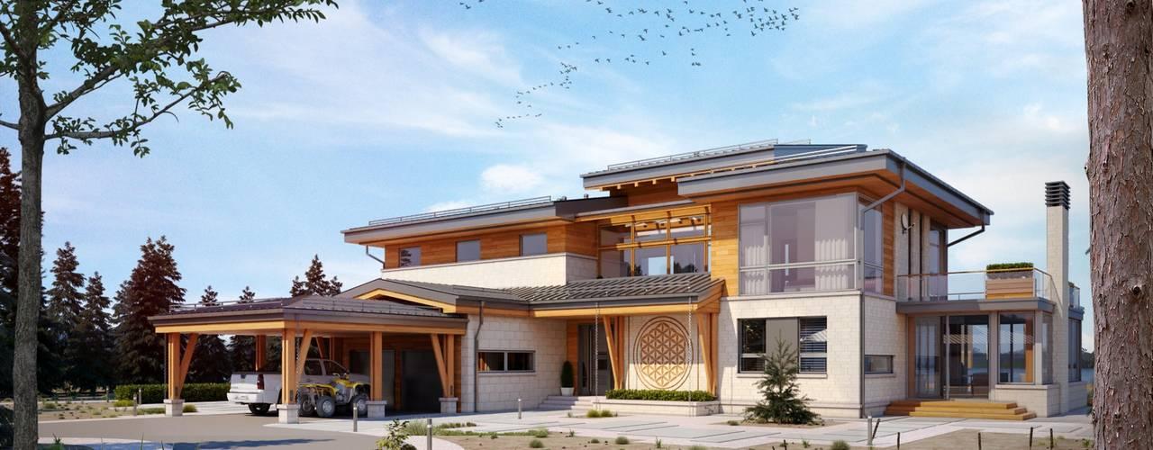 現代房屋設計點子、靈感 & 圖片 根據 Компания архитекторов Латышевых 'Мечты сбываются' 現代風