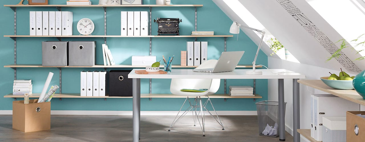 P-SLOT - Wall Shelving System:  Study/office by Regalraum UK