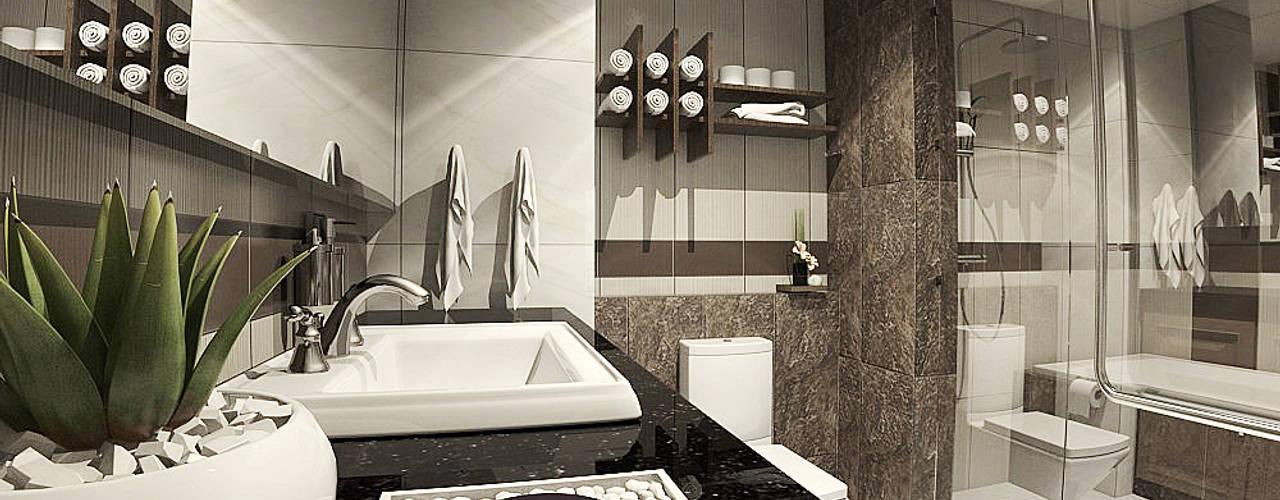 Nadee10 Hotel KhonKaen:  ห้องน้ำ by HEAD DESIGN