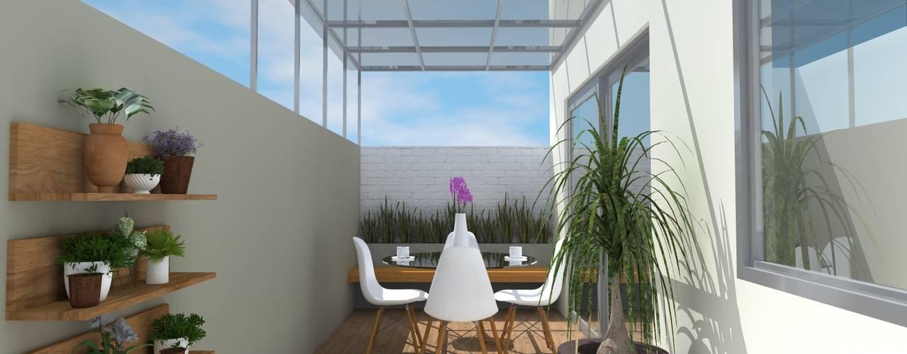 Patio Interior Constructora e Inmobiliaria Catarsis Balcones y terrazas modernos Cerámico Beige