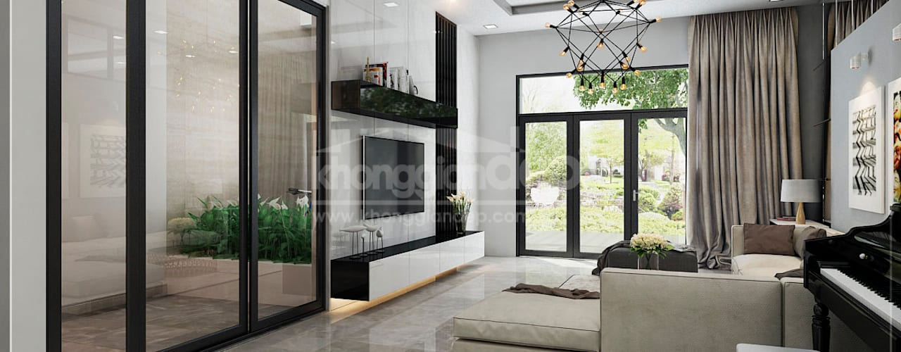 Thiết kế nhà phố Đồng Nai: Gần gũi thiên nhiên với không gian xanh:  Phòng khách by Công ty cổ phần đầu tư xây dựng Không Gian Đẹp