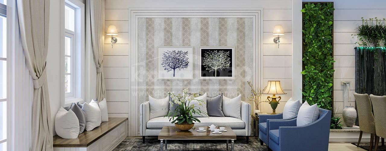 Thiết kế nhà phố Gò Vấp: Phong cách bán cổ điển Phòng khách phong cách Bắc Âu bởi Công ty cổ phần đầu tư xây dựng Không Gian Đẹp Bắc Âu