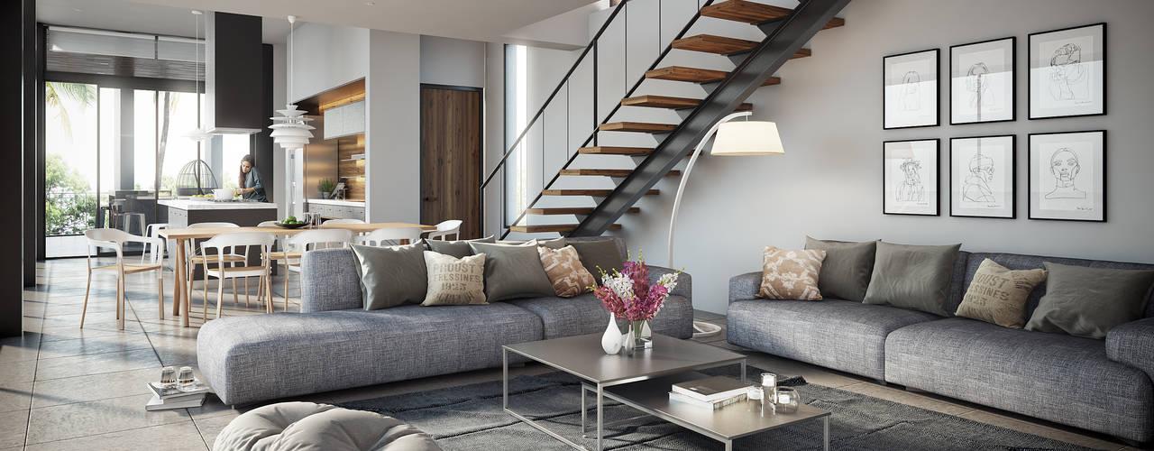 Minimalist living room by DELTA Minimalist