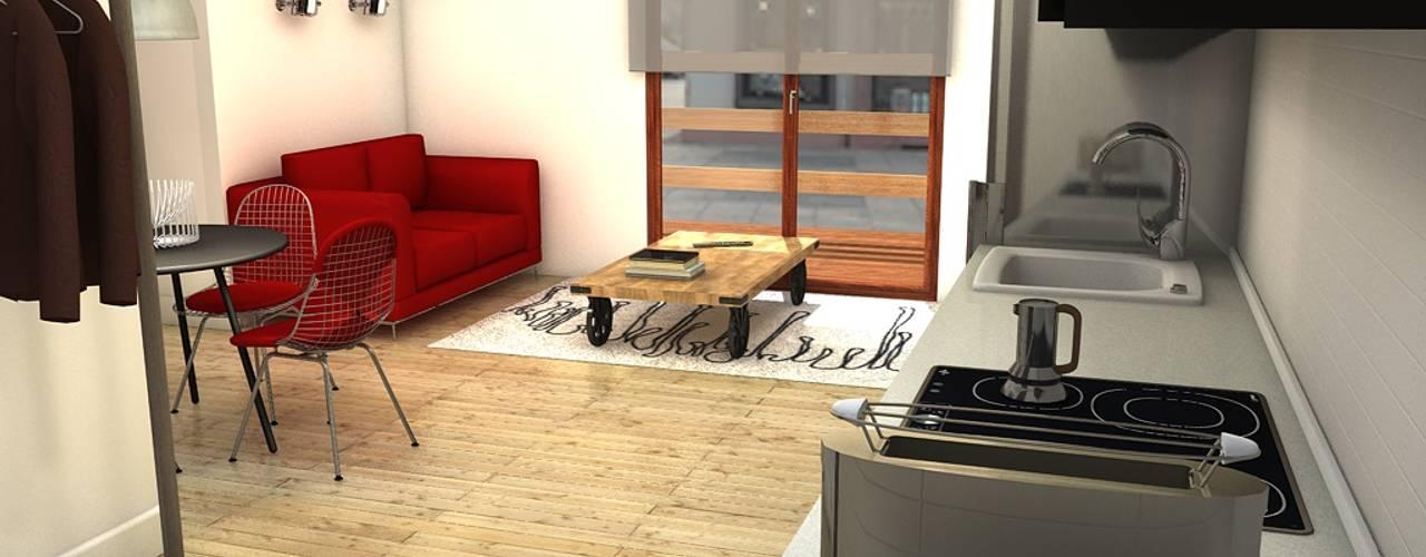 Salón con terraza: Salones de estilo  de M2 Al Detalle