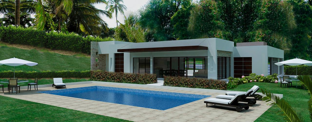 Casas Campestres: Piscinas de estilo  por Arquitectos y Entorno S.A.S