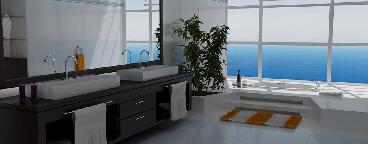 Casas Campestres Baños de estilo moderno de Arquitectos y Entorno S.A.S Moderno