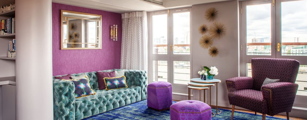 Art Deco Inspired Riverside Flat : Bermondsey:  Living room by Cassidy Hughes Interior Design