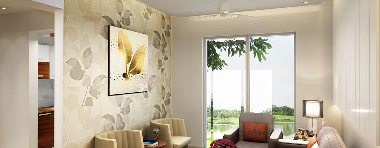 Residence at Dwarka:  Living room by Design Essentials
