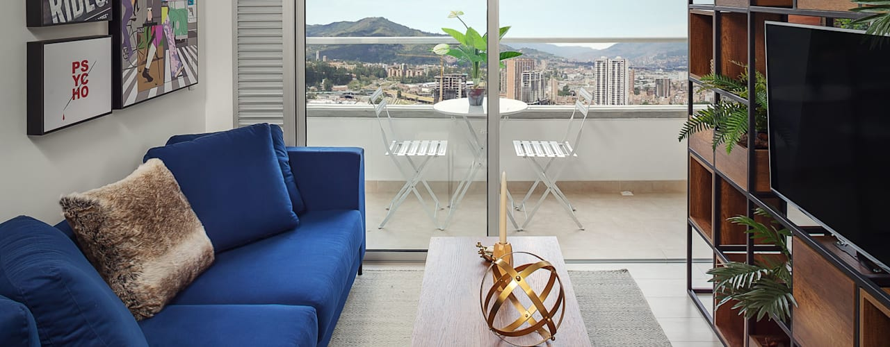 Aparta estudio Monteazul 48 metros cuadrados Salas modernas de Maria Mentira Studio Moderno