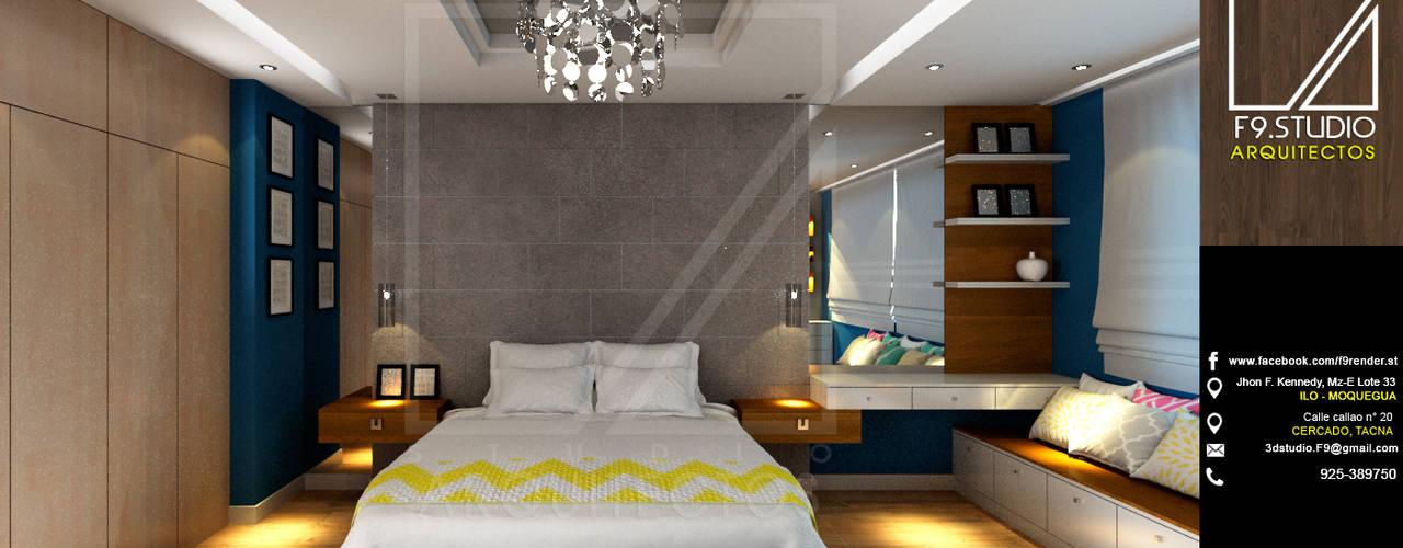 Remodelacion de Dormitorio Principal - Ilo  cel. 925389750: Dormitorios de estilo  por F9.studio Arquitectos,