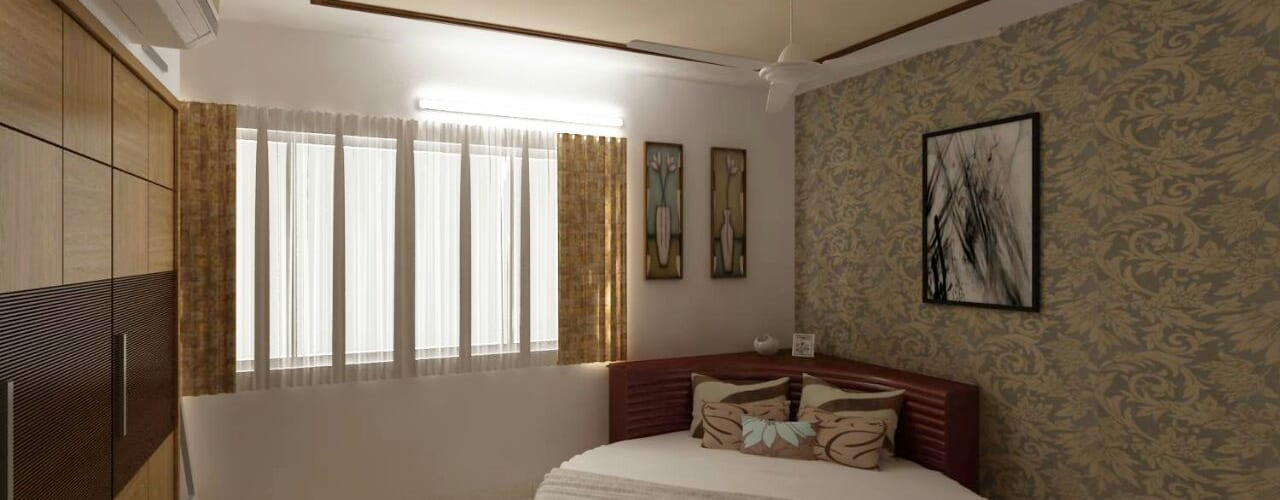 Mr. Fazal 's Home Interior Design Modern style bedroom by Walls Asia Architects and Engineers Modern