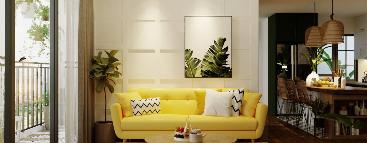 """SEASON AVENUE, ĐẠI LỘ 4 MÙA - """"MÙA HẠ MIỀN NHIỆT ĐỚI"""" Phòng khách phong cách nhiệt đới bởi Green Interior Nhiệt đới"""