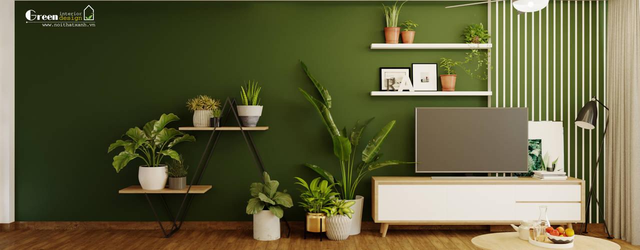 """SEASON AVENUE, ĐẠI LỘ 4 MÙA - """"MÙA HẠ MIỀN NHIỆT ĐỚI"""" Green Interior Phòng khách phong cách nhiệt đới Gỗ thiết kế Green"""