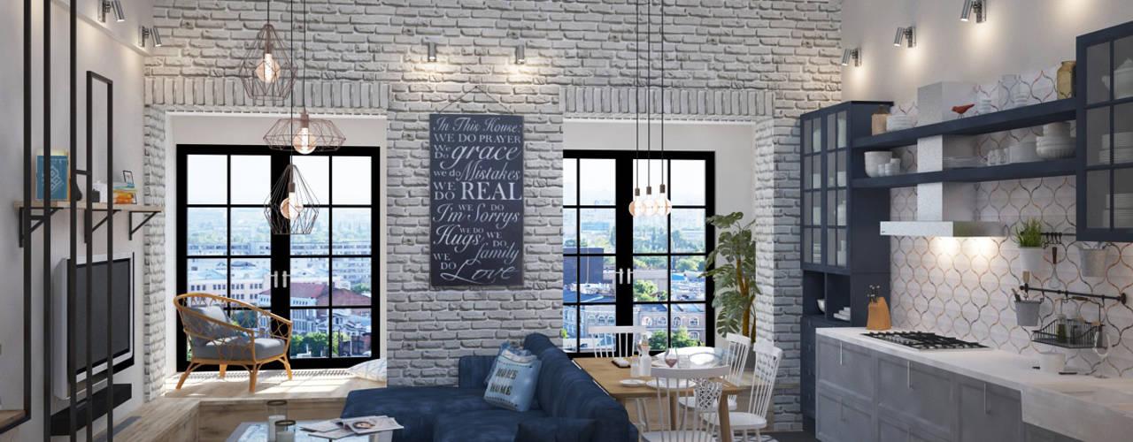 Phòng khách phong cách công nghiệp bởi Tamriko Interior Design Studio Công nghiệp