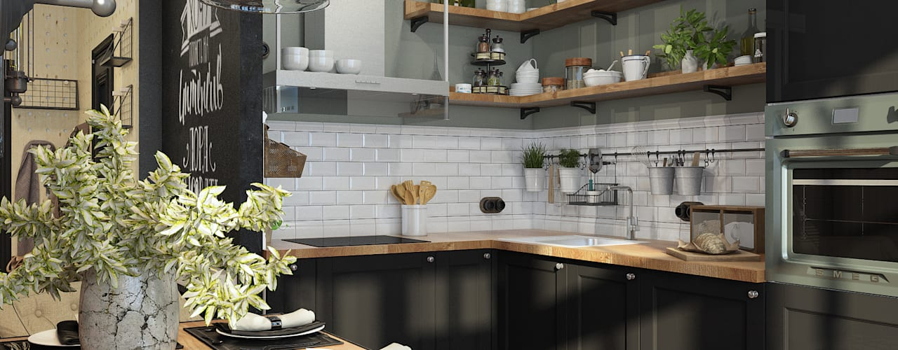Industrial style kitchen by Alyona Musina Industrial