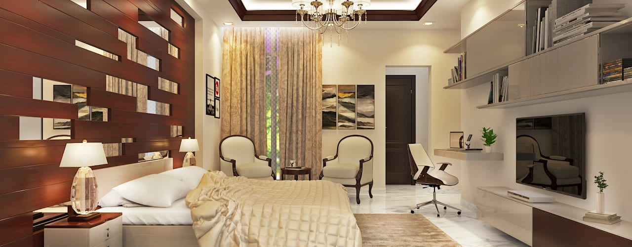 Essel Tower:  Bedroom by Tribuz Interiors Pvt. Ltd.