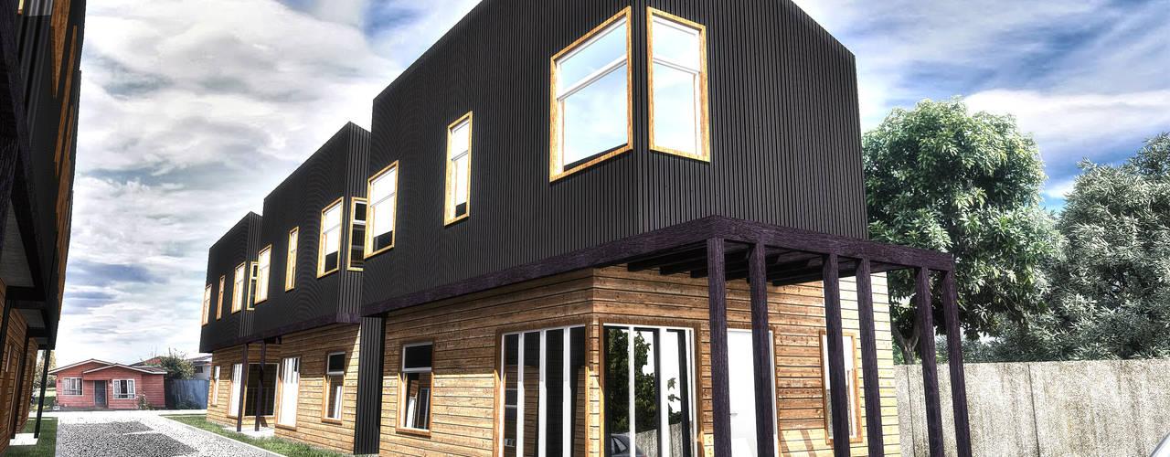 Diseño de Condominio Don Rene en Osorno, Región de los Lagos por NidoSur Arquitectos: Condominios de estilo  por NidoSur Arquitectos - Valdivia
