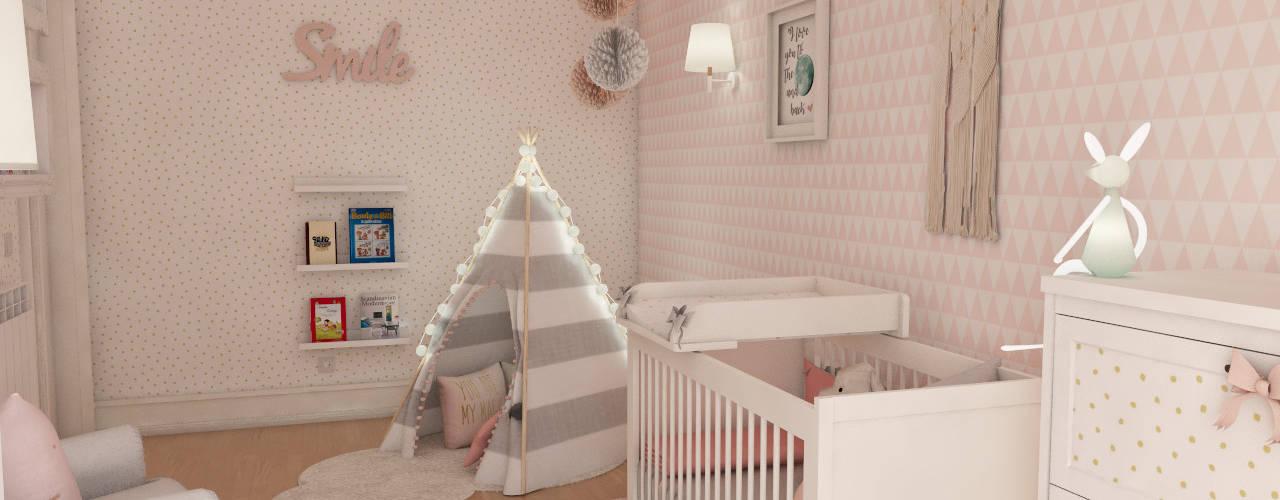 Simulação tridimensional - projecto quarto de bebé: Berçários  por The Spacealist - Arquitectura e Interiores