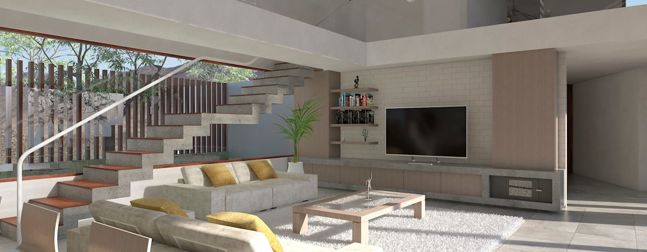 Living room by Uno Arquitectura,