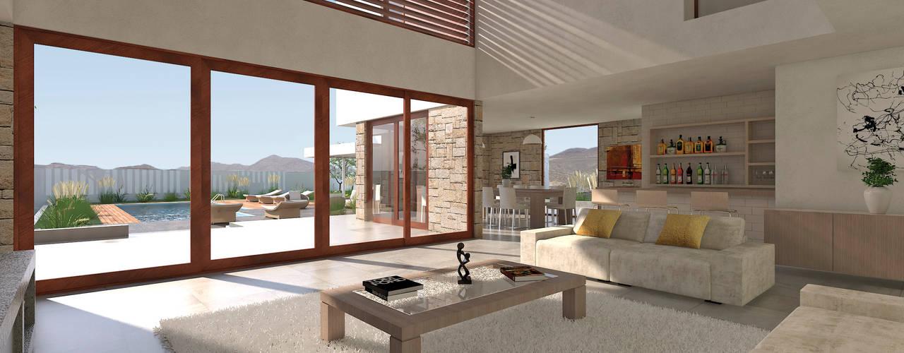 Vivienda La Chimba Livings de estilo mediterráneo de Uno Arquitectura Mediterráneo