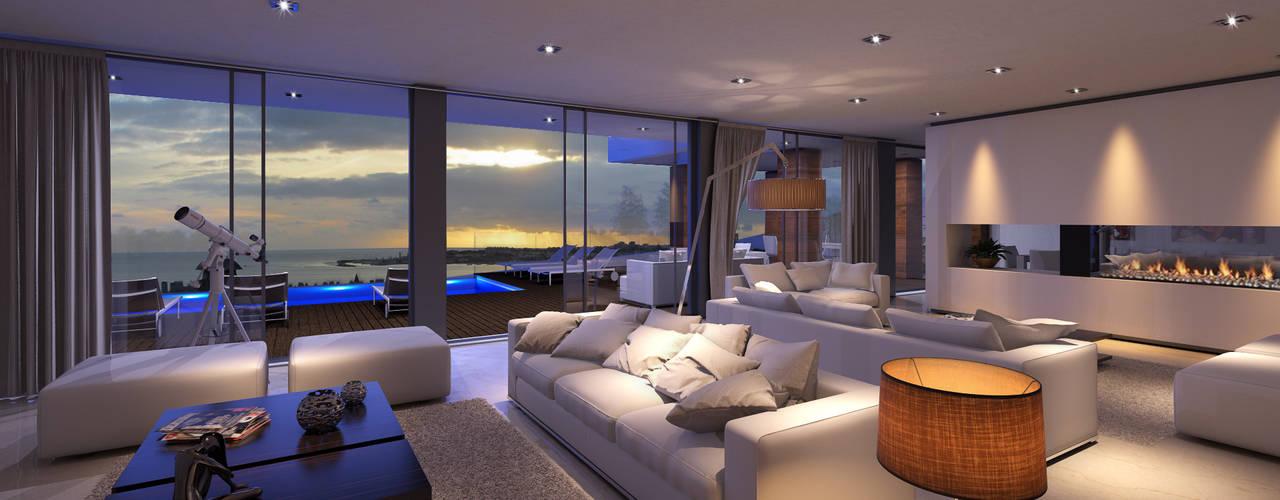 CASA JA1 - Moradia no Estoril - Projeto de Arquitetura Traçado Regulador. Lda Salas de estar modernas Pedra Branco
