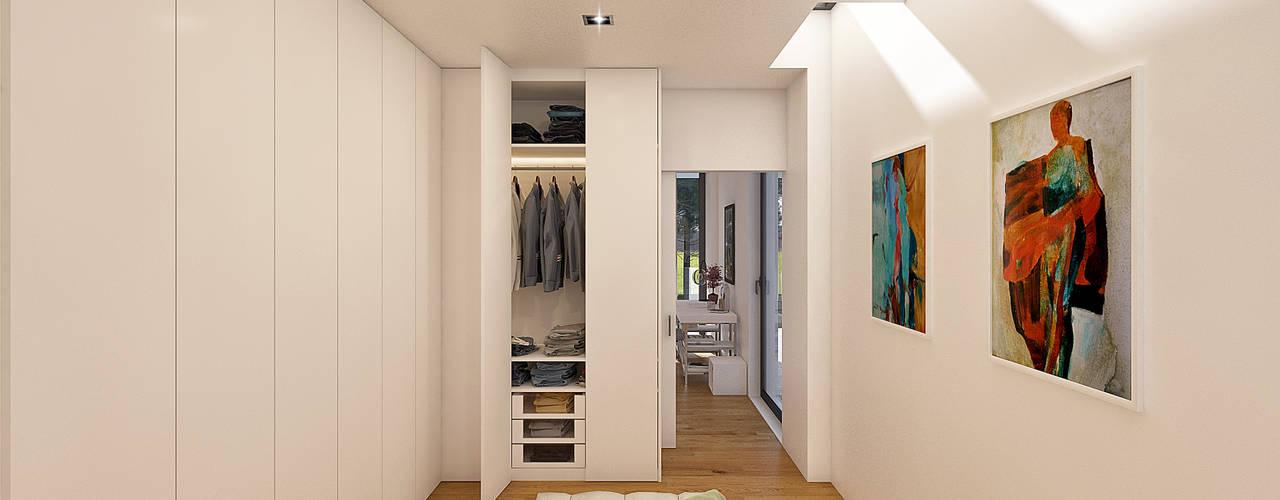 CASA PF1 - Moradia na Herdade da Aroeira - Projeto de Arquitetura Closets modernos por Traçado Regulador. Lda Moderno
